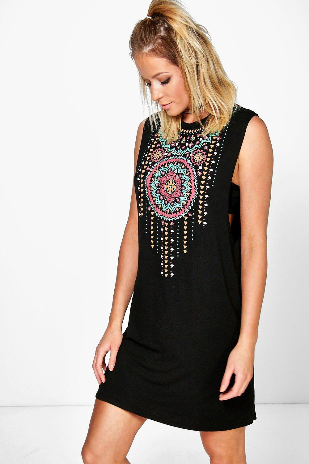 Sade Aztec Print Drop Arm Shift Dress