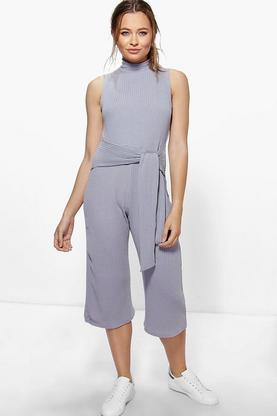Ella Ribbed Culotte High Neck Self Belt Jumpsuit