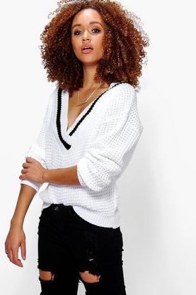 Tia Plunge V Neck Sports Rib Fisherman Jumper