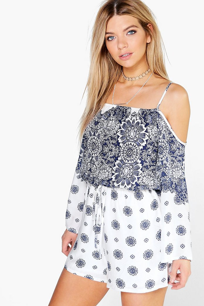 Ria Off The Shoulder Printed Playsuit