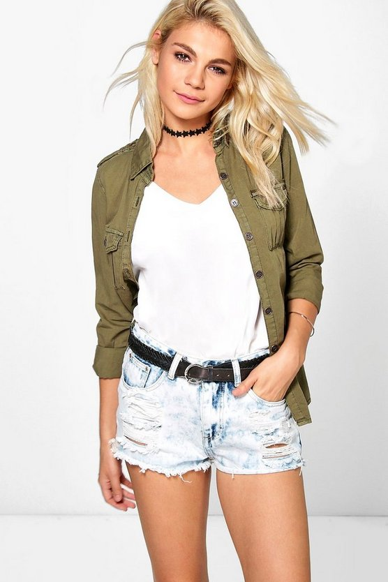 Zoe Bleach Wash Distressed Denim Hotpant