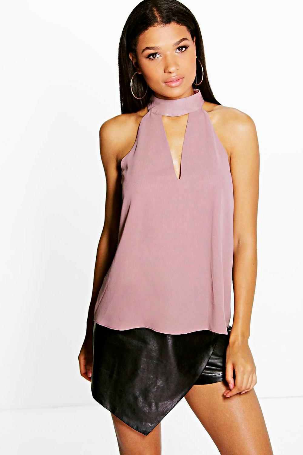 Ruby Woven High Neck Plunge Blouse