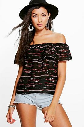 Grace Printed Woven Off The Shoulder Top