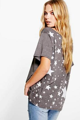 Lily Oversized Slash Star Back Print