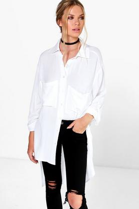 Julia Oversized Crinkle Viscose Pocket Shirt