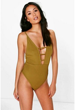 Jasmine Ladder Detail Ribbed Bodysuit