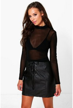 Liza Mesh Long Sleeve Turtle Neck Top