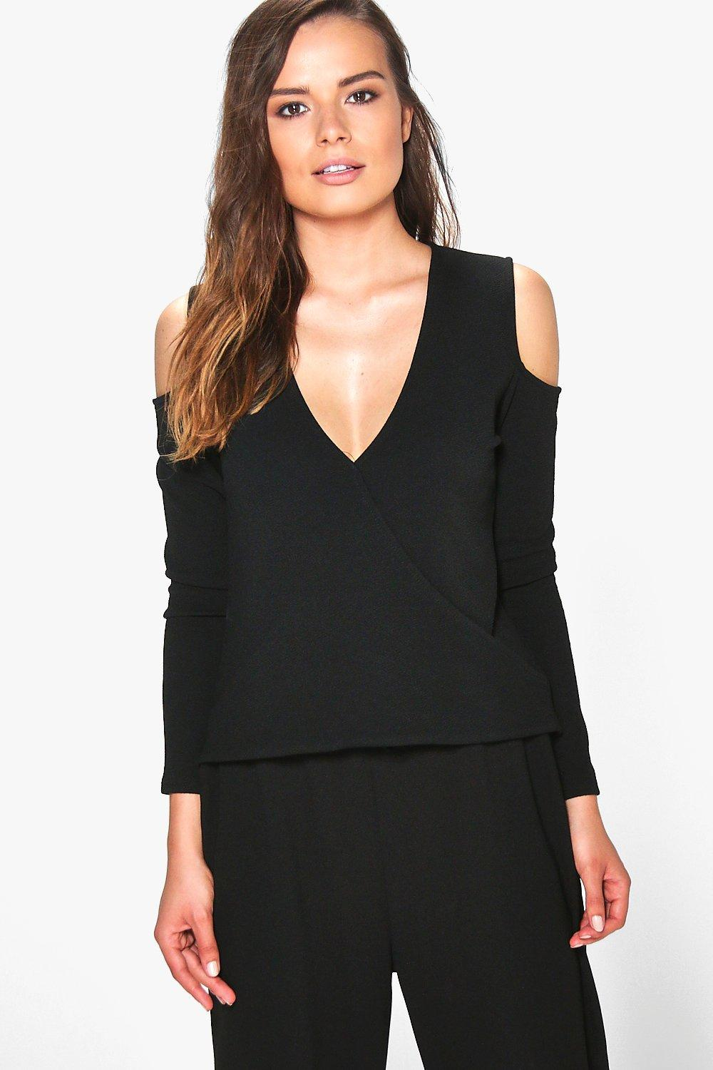 Laura Cut Out Shoulder Wrap Over Crepe Top