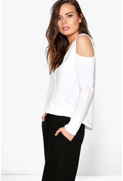 Laura Cold Shoulder Wrap Over Crepe Top