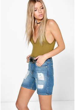 Ellie Longer Length Boyfriend Denim Shorts