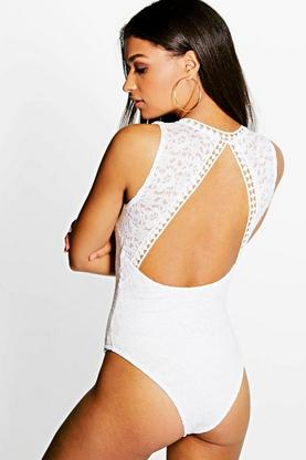 Steph Crochet Trim Lace Bodysuit