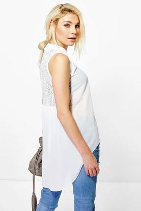 Becky Dip Back Crochet Shirt