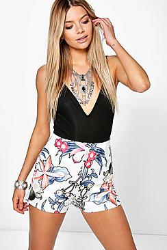 Ellie High Waisted Floral Print Shorts