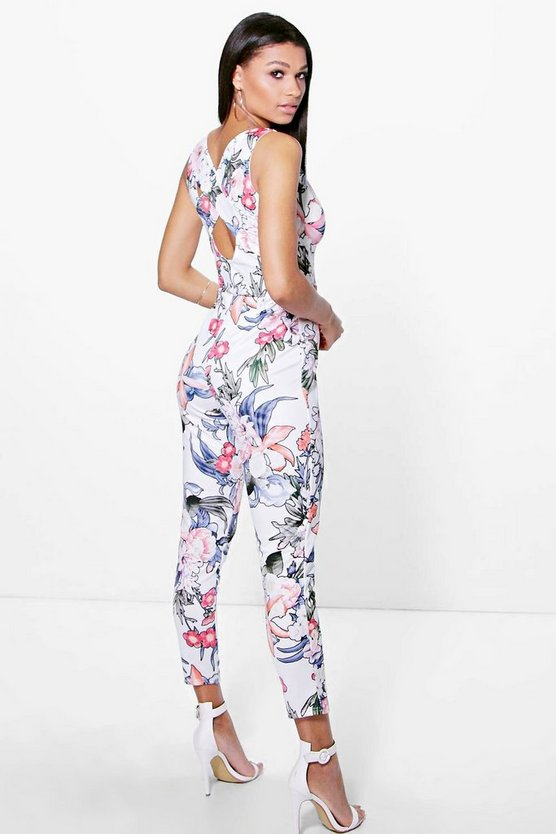 Molly Floral Print Cross Back Skinny Leg Jumpsuit