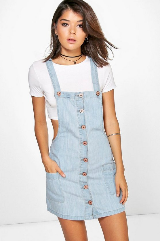 Hayley Button Through Denim Pinafore