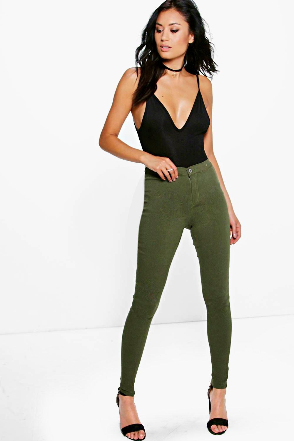 Lara Khaki High Rise Tube Jeans