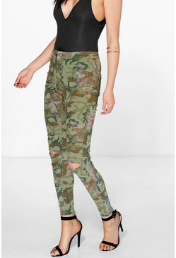 Mia Camo Floral High Rise Slit Knee Jeans