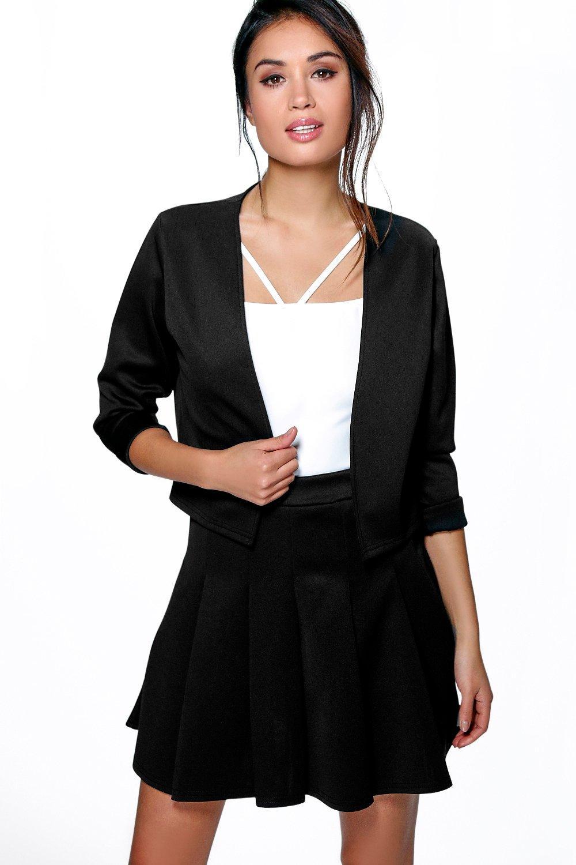 Collarless Crop Jacket black