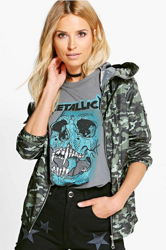 Zoe Camo Hooded Festival Jacket