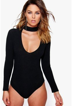 Maisie Cut Out Choker Neck Rib Knit Bodysuit