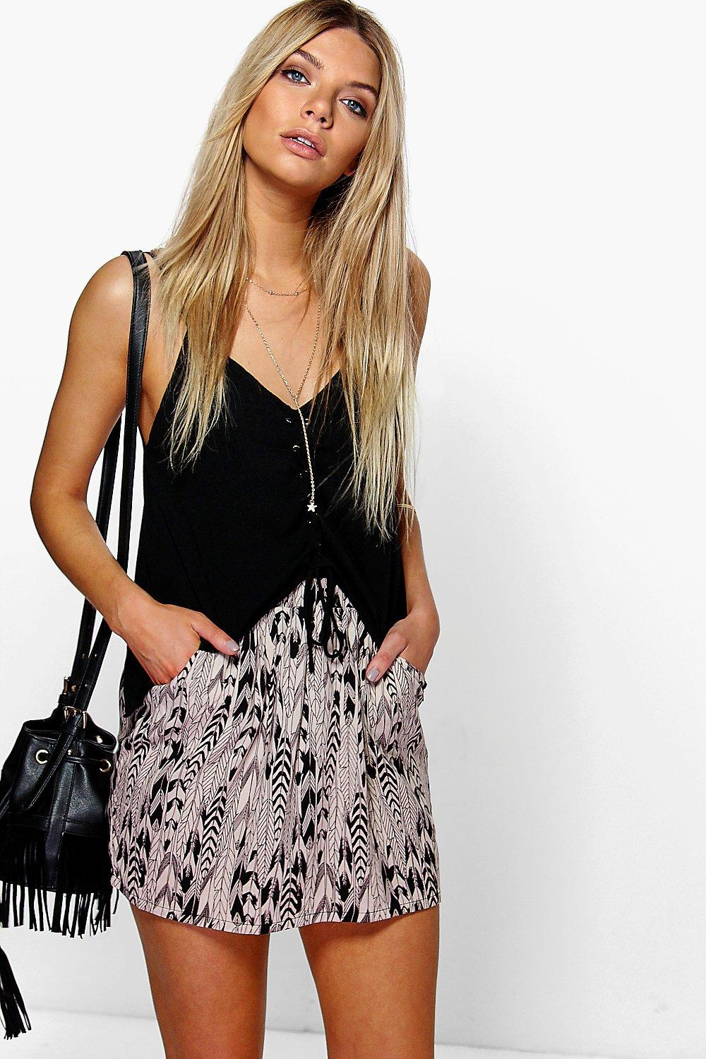 Millie Feather Print Woven Mini Skirt