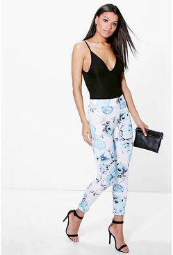 Sari Large Floral Skinny Trousers