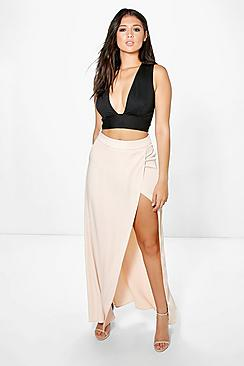 Boutique Pia Satin Thigh Split Maxi Skirt