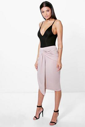 Airlia Drape Side Panel Front Crepe Midi Skirt