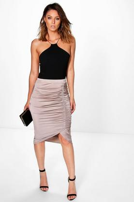 Ailani Rouched Side Slinky Midi Skirt