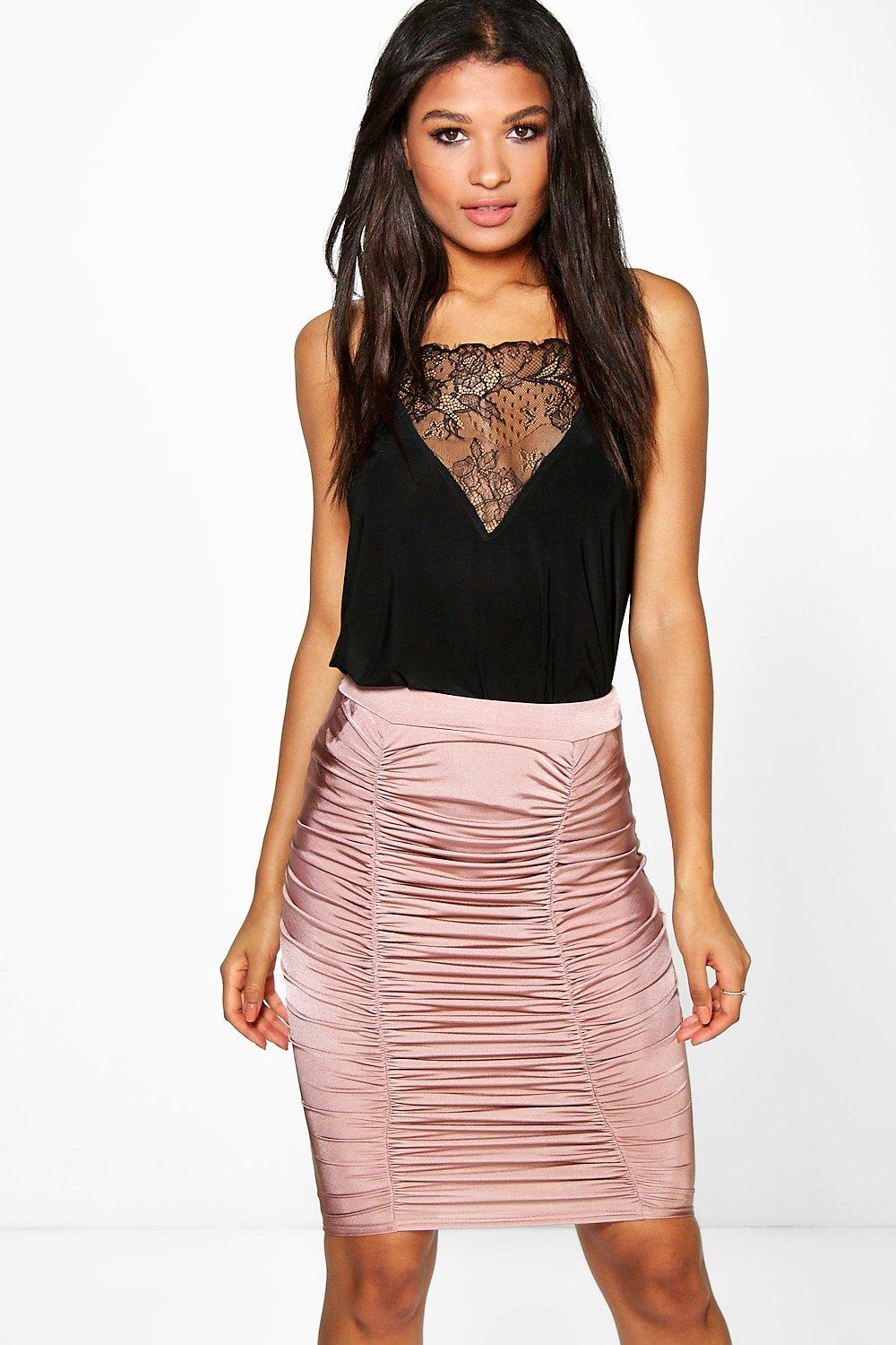 Rouched Front Slinky Midi Skirt mauve