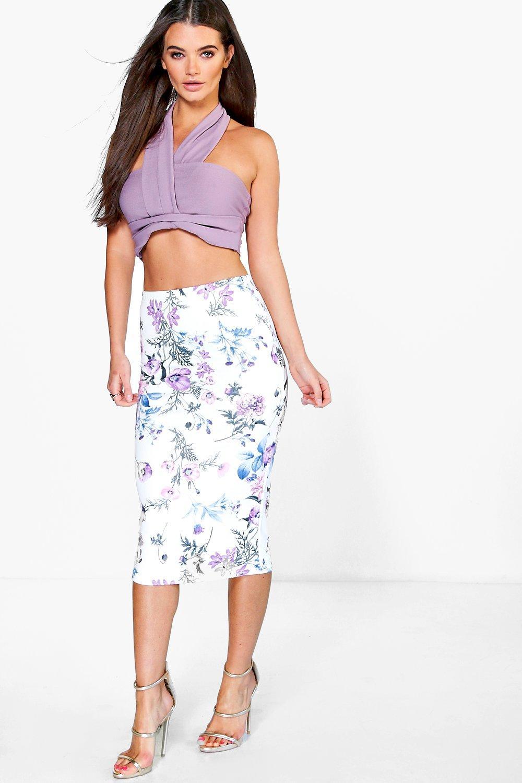 Floral Digital Print Scuba Midi Skirt lilac