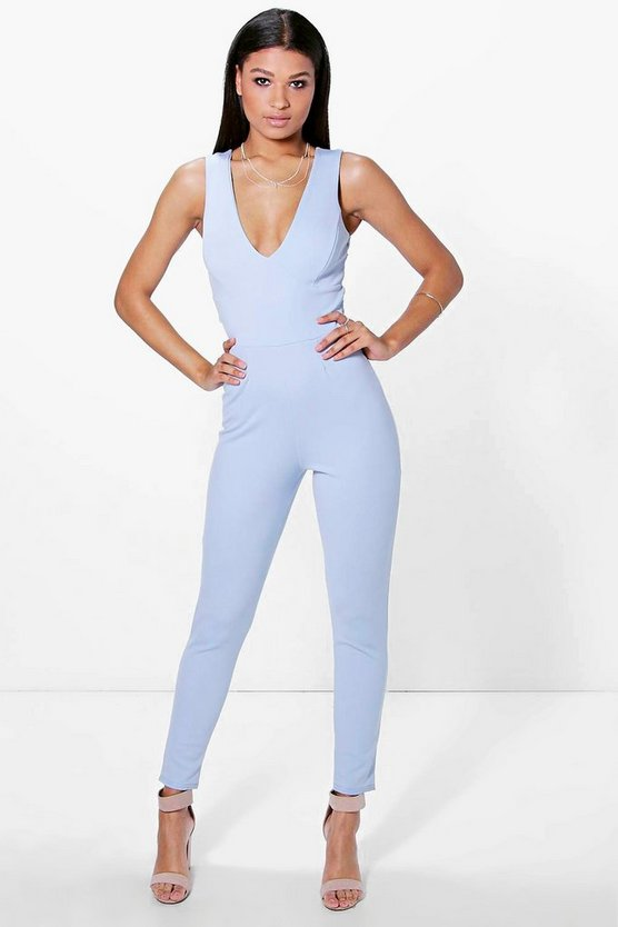 Lois Cross Back Skinny Leg Jumpsuit
