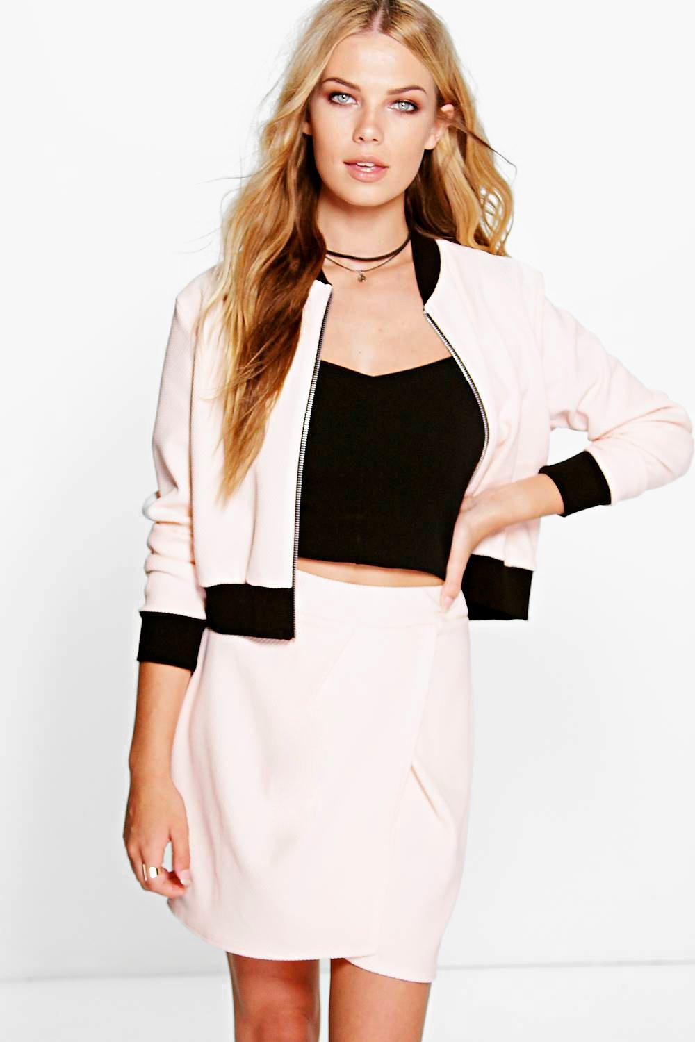 Evelyn Pleat Front Textured Bomber