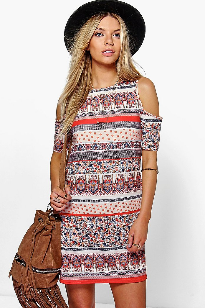 Freyja Paisley Cold Shoulder Shift Dress