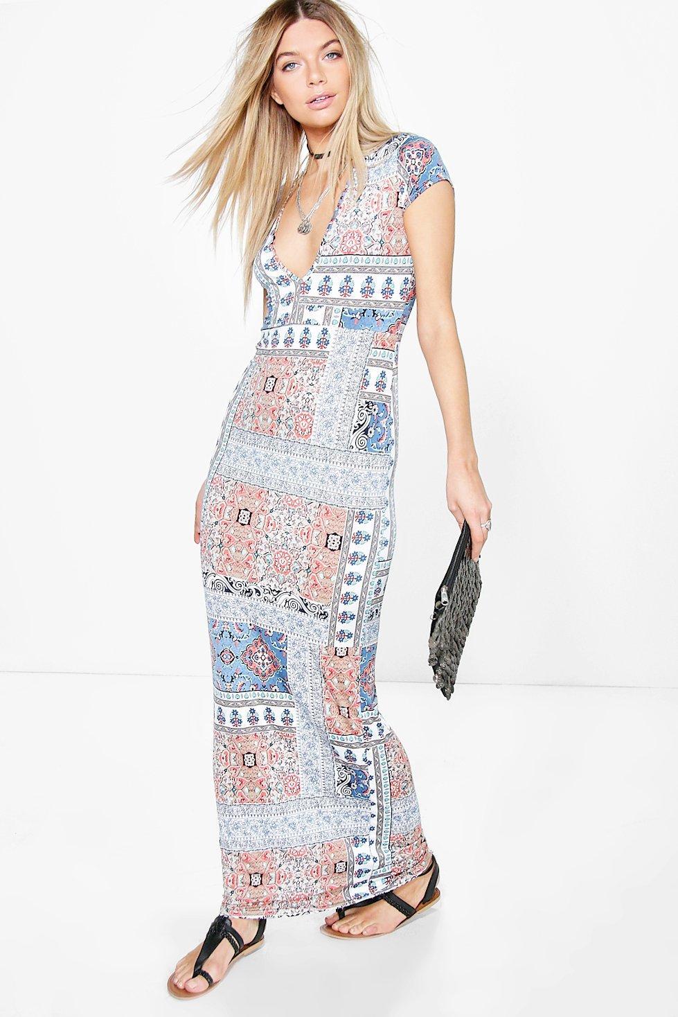 Paisley Plunge Maxi Dress blue