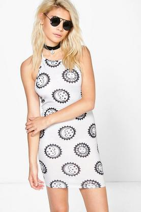 Nina Moon & Sun Print Halter Bodycon Dress