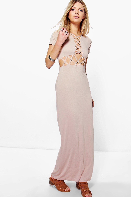 Lattice Cross Maxi Dress stone