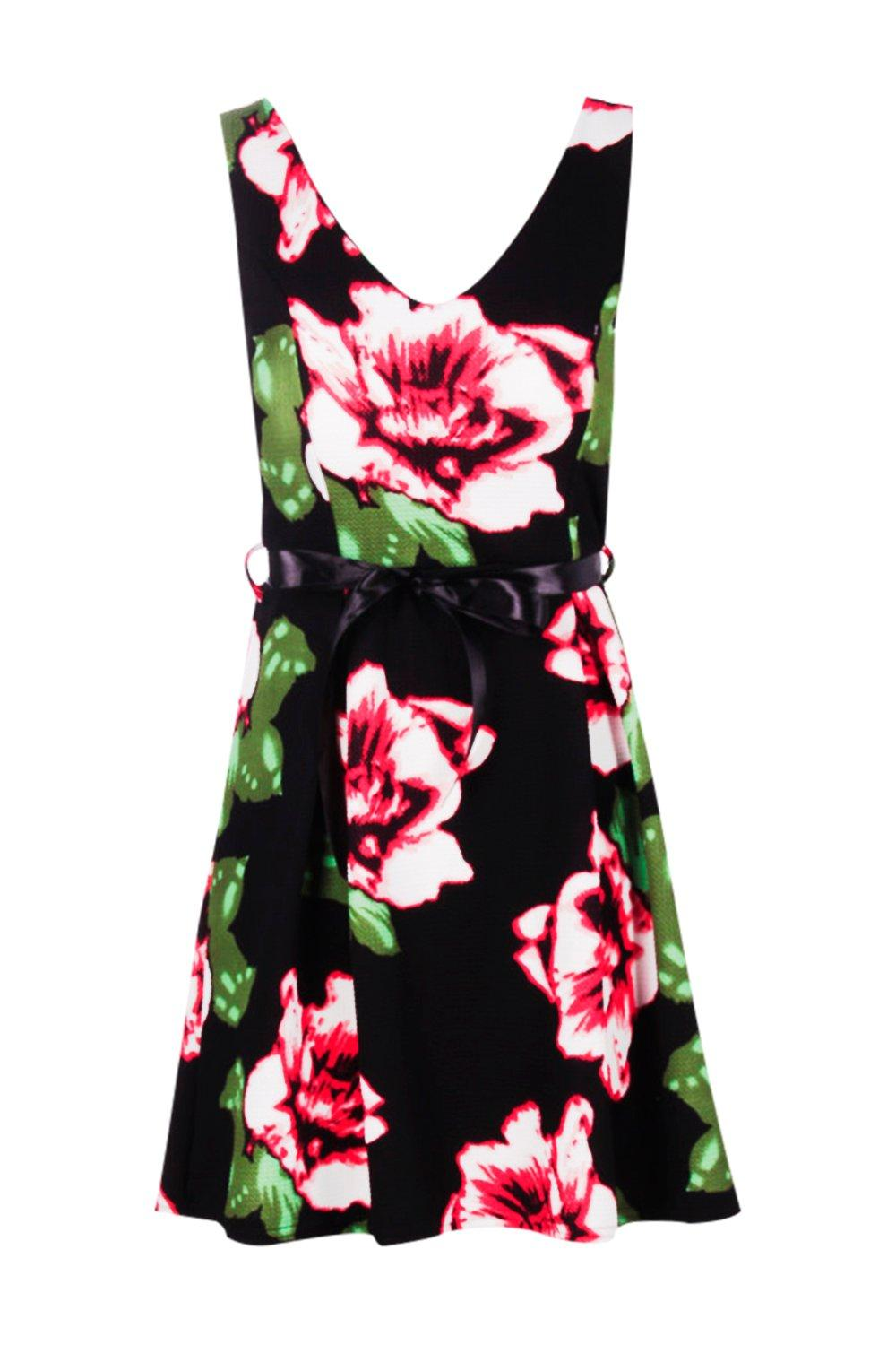 boohoo womens polly floral skater dress with ribbon belt