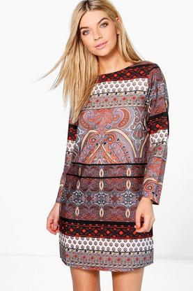 Marcie Paisley Border Long Sleeve Shift Dress