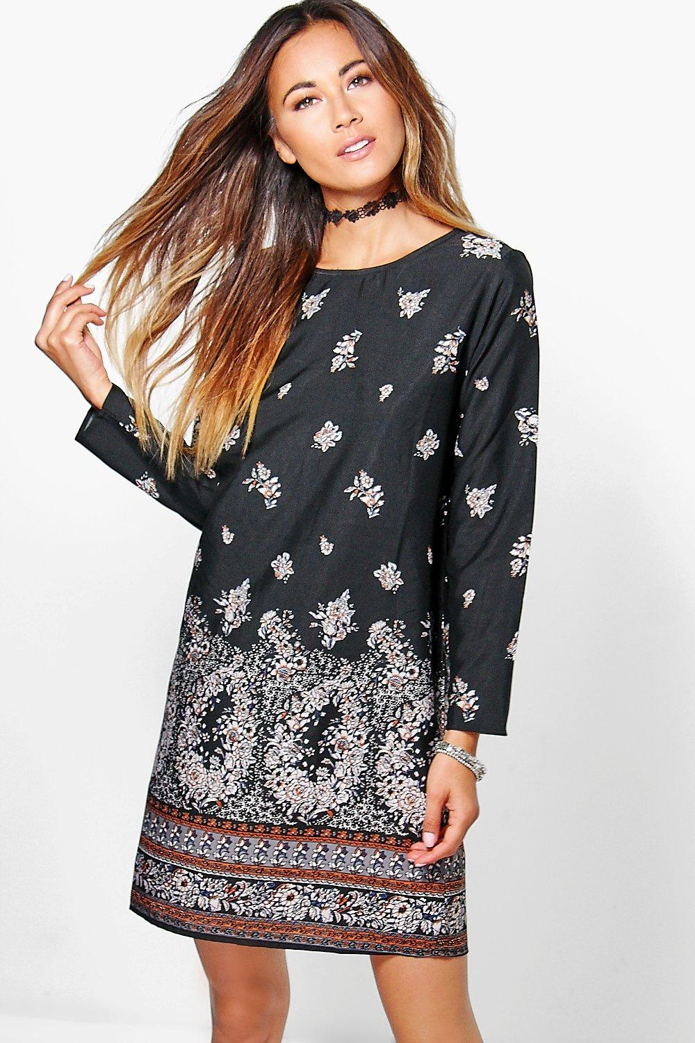 Sahara Paisley Border Long Sleeve Shift Dress
