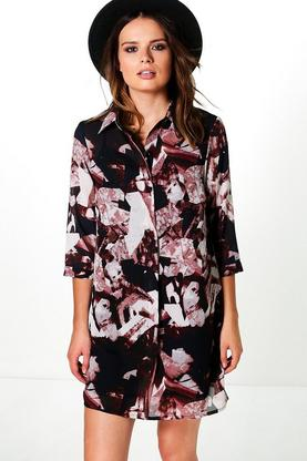 Charlie Mixed Print Shirt Dress