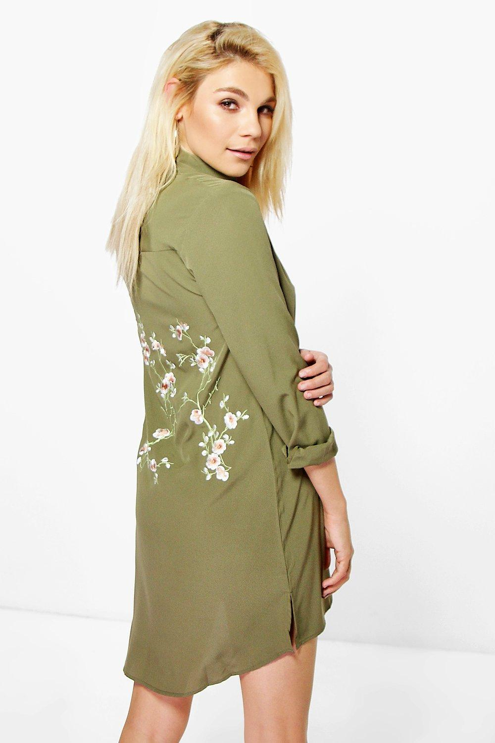 Embroidered Back Shirt Dress  khaki