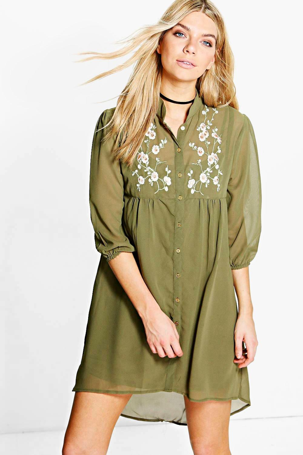 Embroidered Shirt Dress  khaki