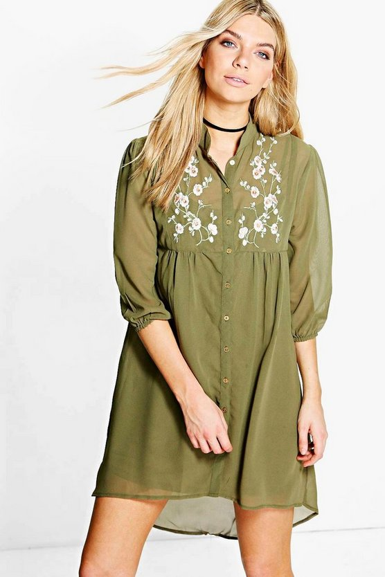 Maddison Embroidered Shirt Dress
