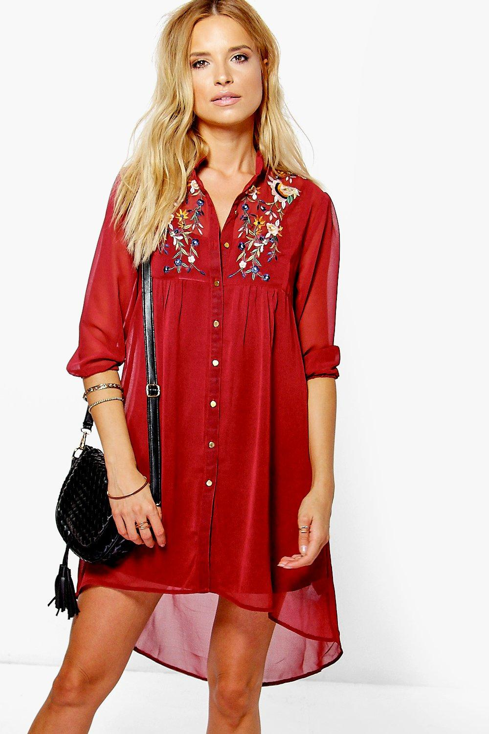 Rhiannon Embroidered Shirt Dress
