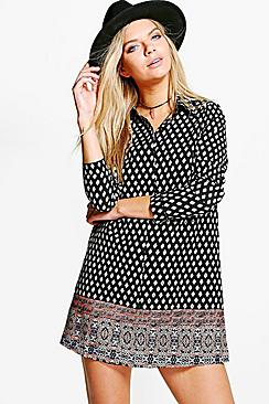 Berlinda Geo Print Paisley Shirt Dress
