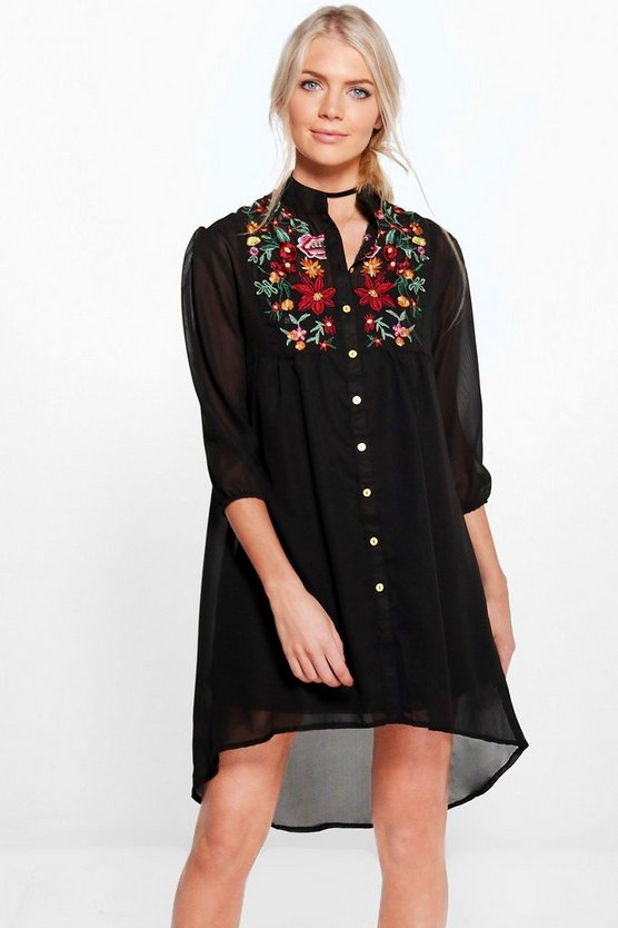 Zigournie Embroidered Shirt Dress
