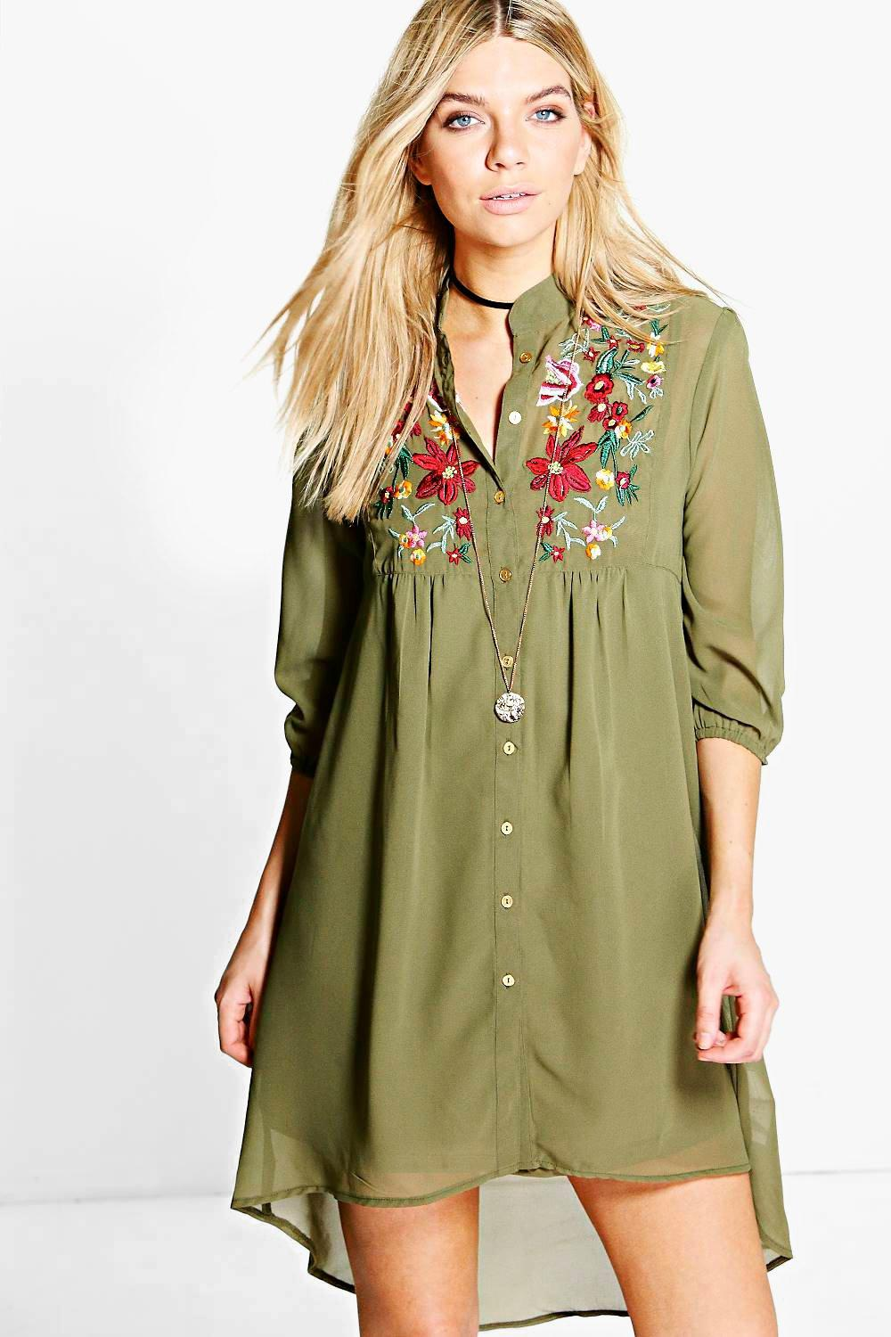 Boohoo Womens Zigournie Embroidered Shirt Dress | EBay