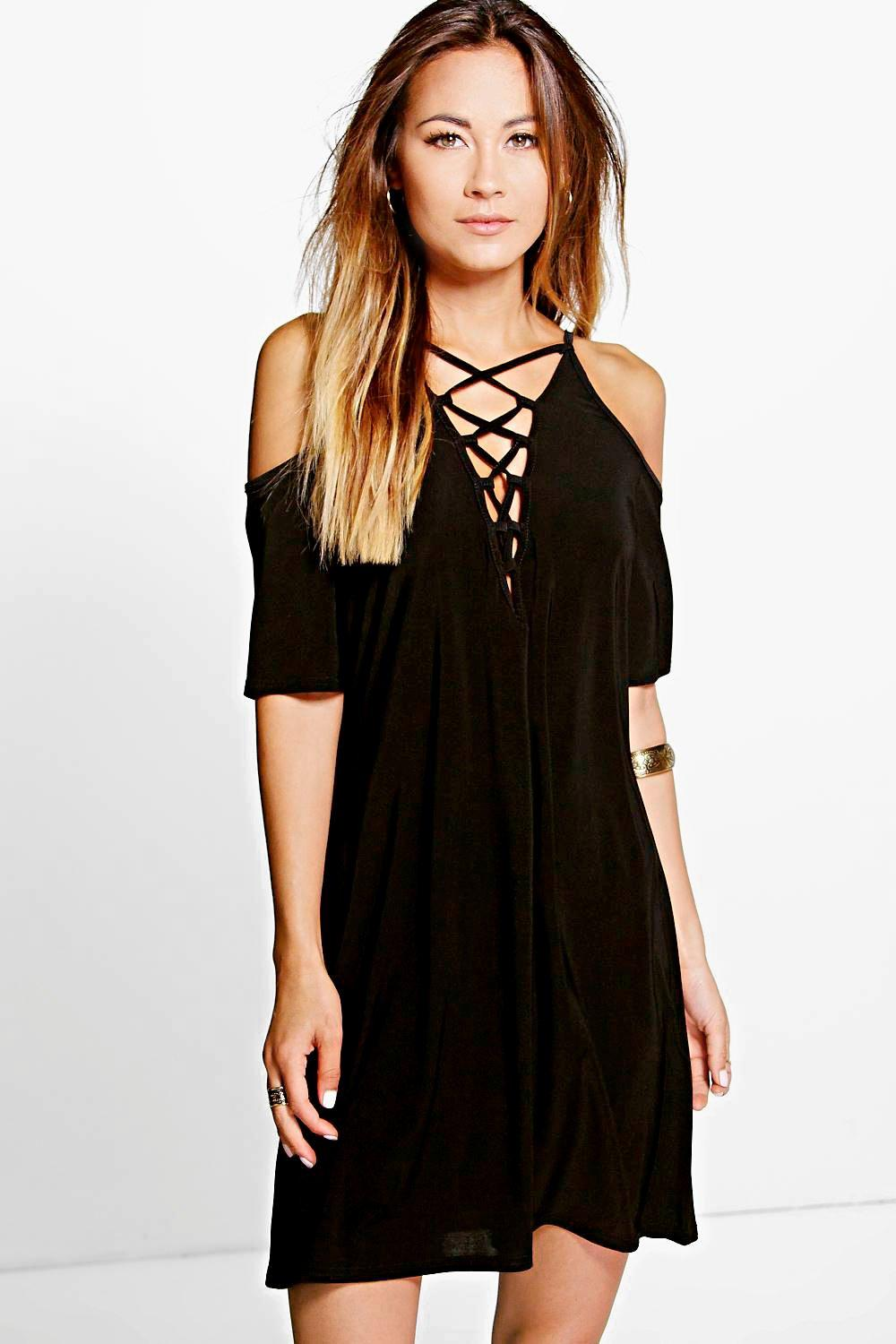 Open Shoulder Lace Up Shift Dress black