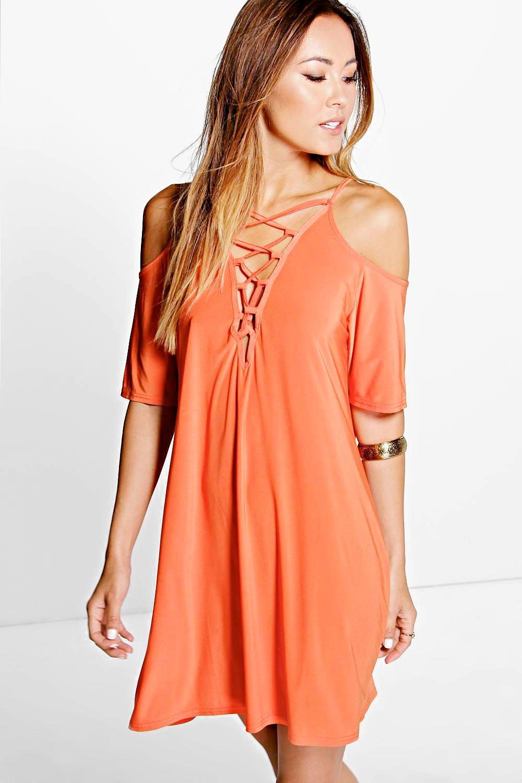 Open Shoulder Lace Up Shift Dress orange